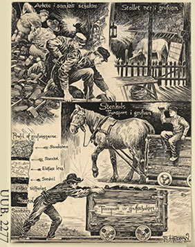 Men and a horse working in a coal mine