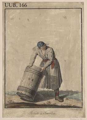 A farmer holding a barrel